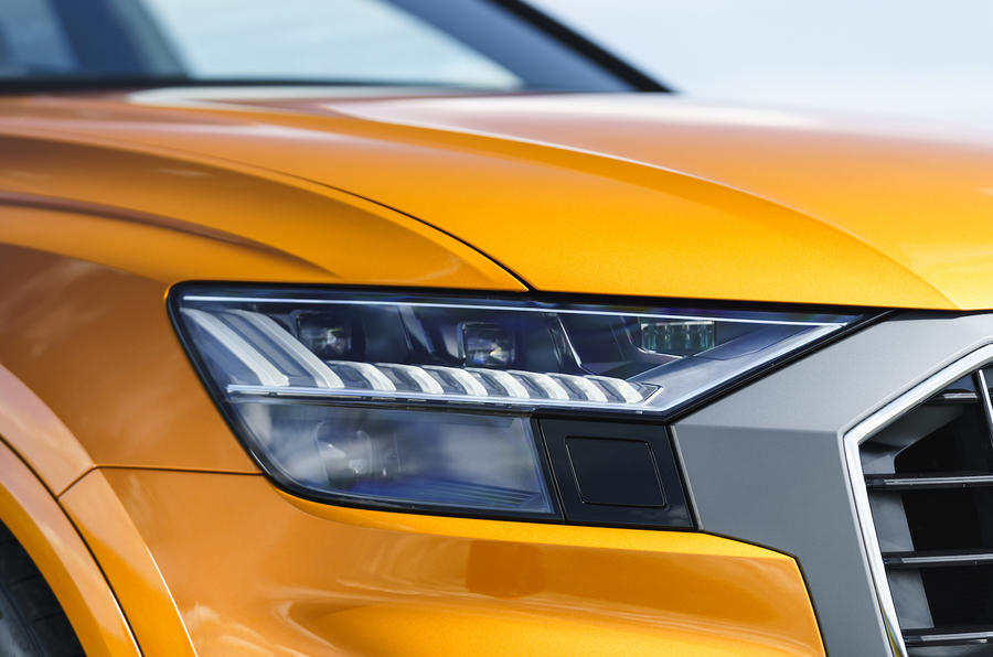 Audi Q8 50 TDI Quattro S-Line 2018 UK first drive headlights
