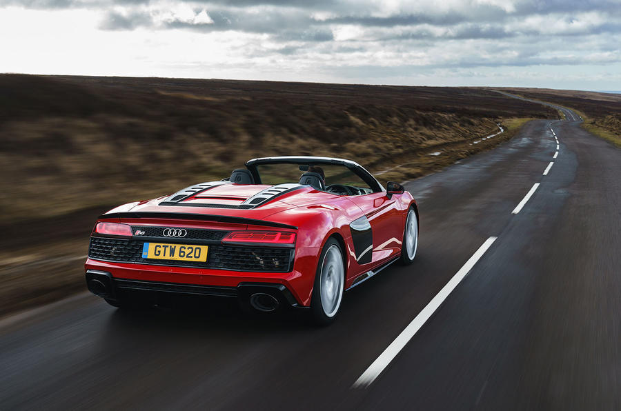 Audi R8 Spyder 2019 UK first drive review - hero rear