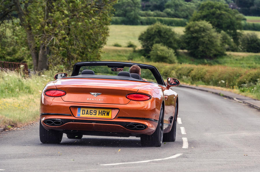 Bentley Continental GT Convertible V8 2020 UK first drive review - hero rear