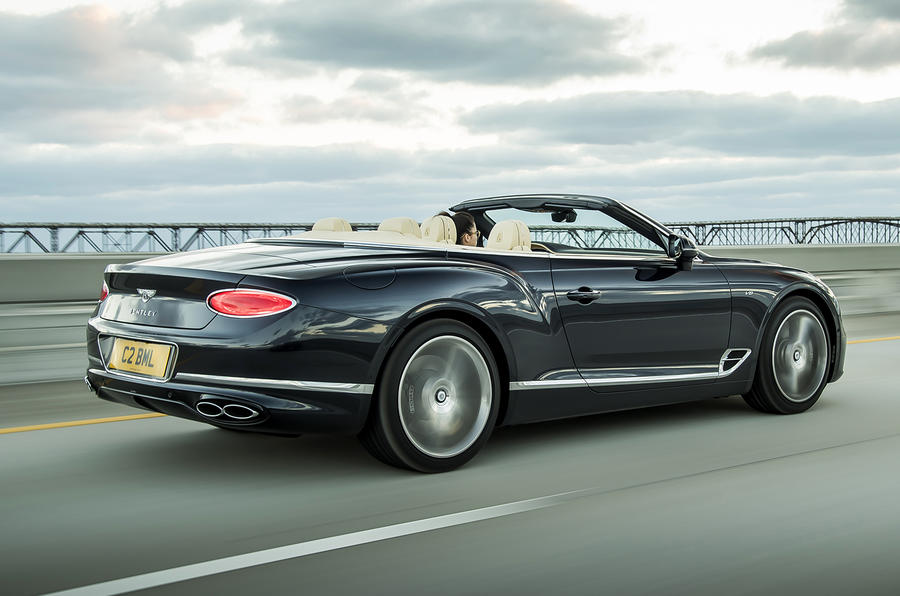 Bentley Continental GT Convertible 2019 UK first drive review - hero rear