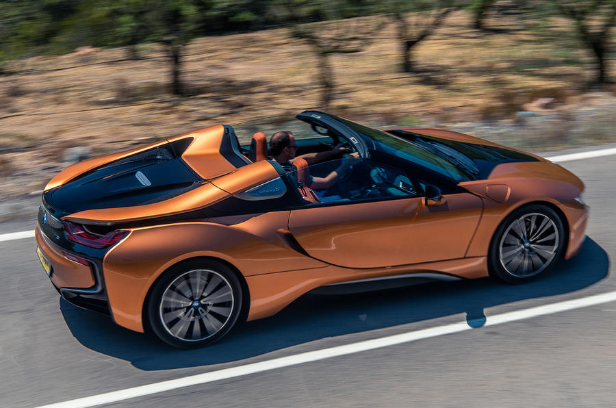 BMW i8 Roadster 2018 UK first drive review - hero rear