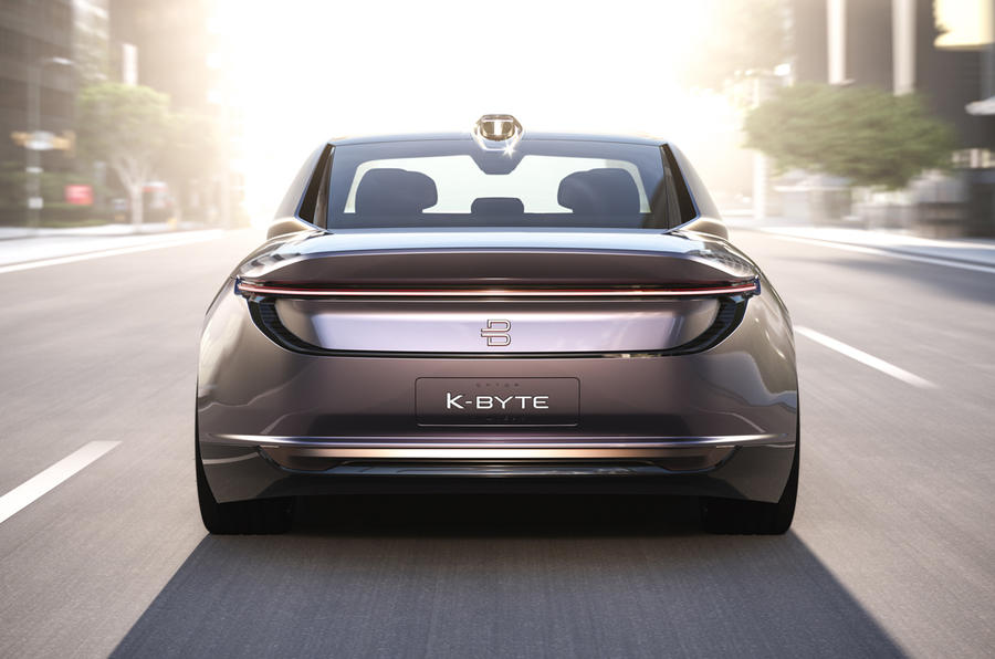 Byton K-Byte saloon concept on the road rear