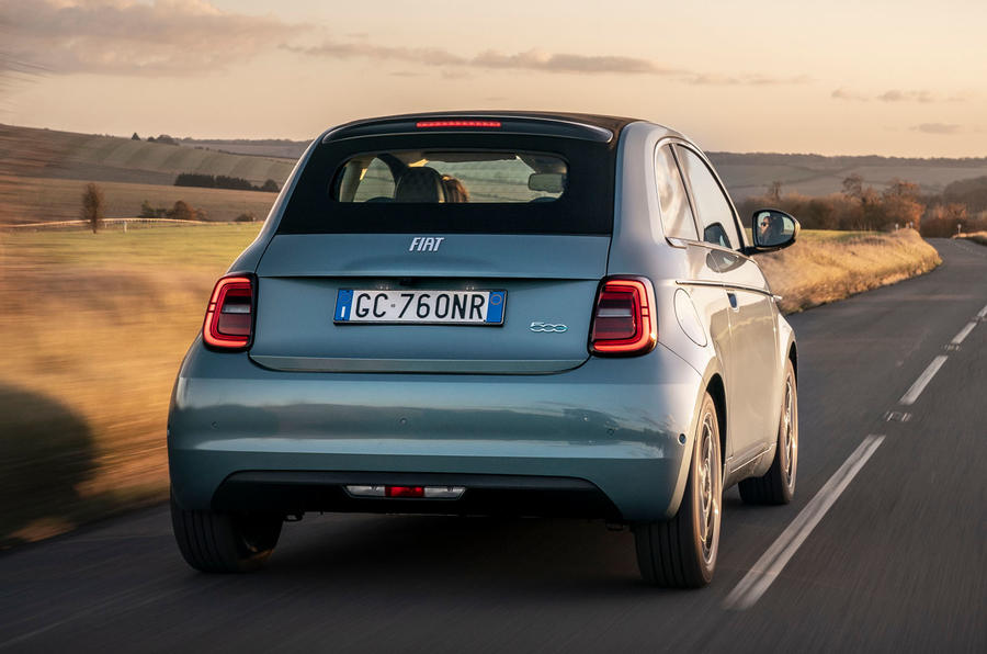 2021 Fiat 500 electric left-hand drive UK review - hero rear