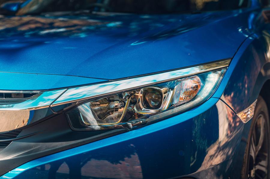 Honda Civic saloon 2018 UK first drive review headlights