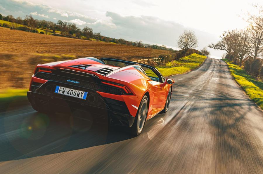 Lamborghini Huracán Spyder 2020 UK first drive review - hero rear