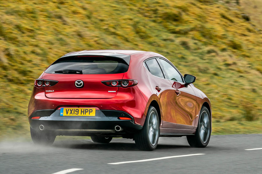 Mazda 3 2019 UK first drive review - hero rear