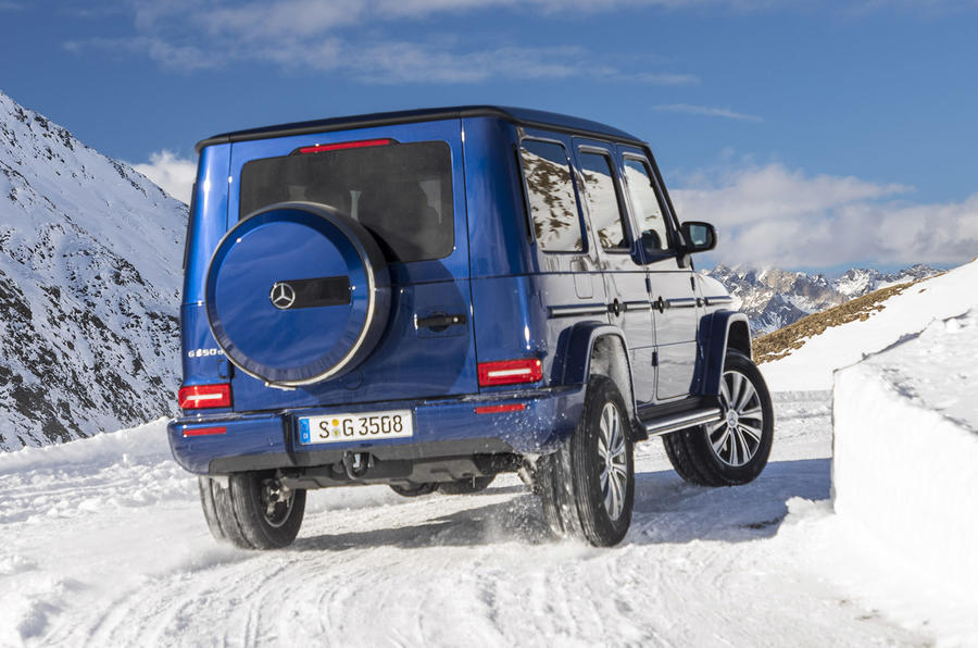Mercedes-Benz G-Class G350d 2018 first drive review - snow rear