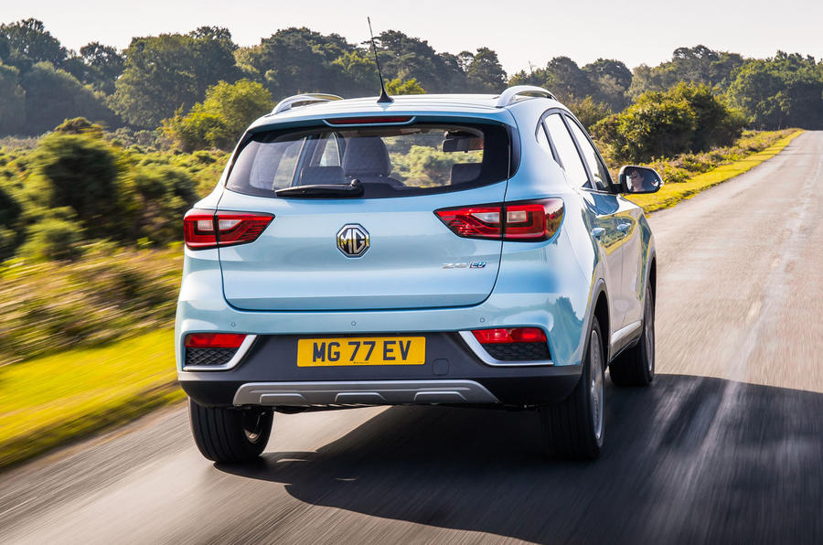MG ZS EV 2019 UK first drive review - hero rear