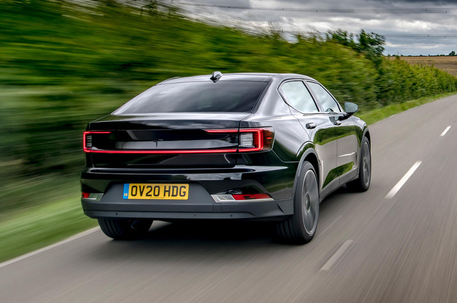 Polestar 2 2020 UK first drive review - hero rear