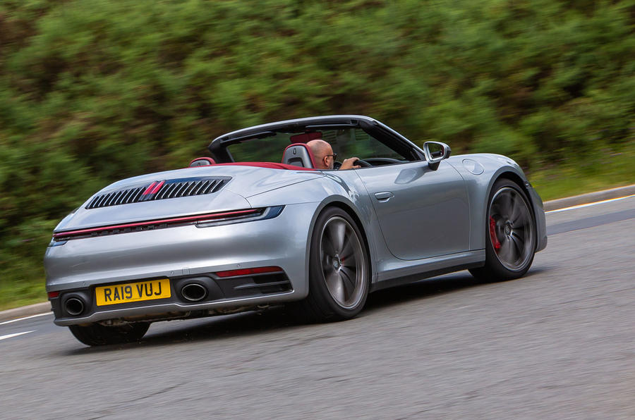 Porsche 911 Carrera 4S Cabriolet 2019 UK first drive review - hero rear
