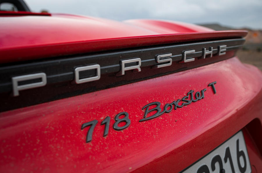 Porsche Boxster T 2019 first drive review - rear badge