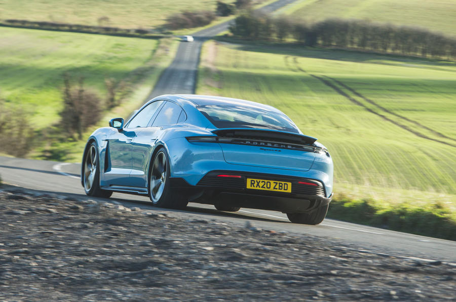 Porsche Taycan 4S 2020 UK first drive review - hero rear
