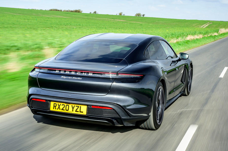 Porsche Taycan Turbo 2020 UK first drive review - hero rear