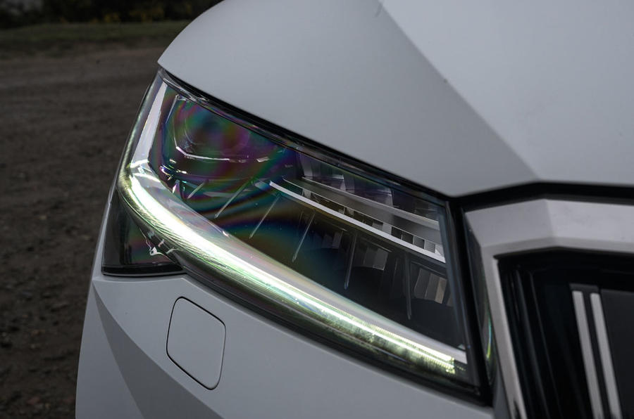 Skoda Superb IV 2020 UK first drive review - headlights