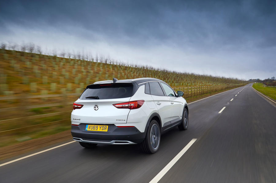 Vauxhall Grandland X Hybrid4 2020 UK first drive review - hero rear