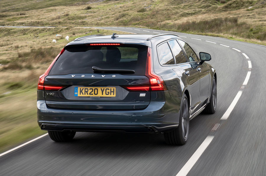Volvo V90 Recharge T6 2020 UK first drive review - hero rear