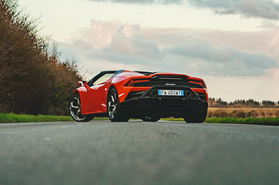Lamborghini Huracán Spyder 2020 UK first drive review - static rear