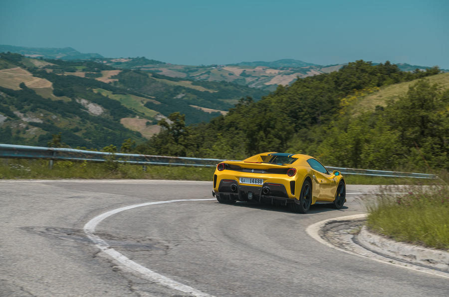 Ferrari 488 Pista Spider 2019 first drive review - roof up rear