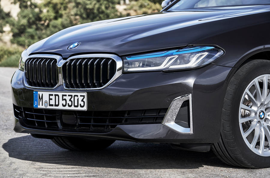 BMW 5 Series 2020 UK (LHD) first drive review - nose