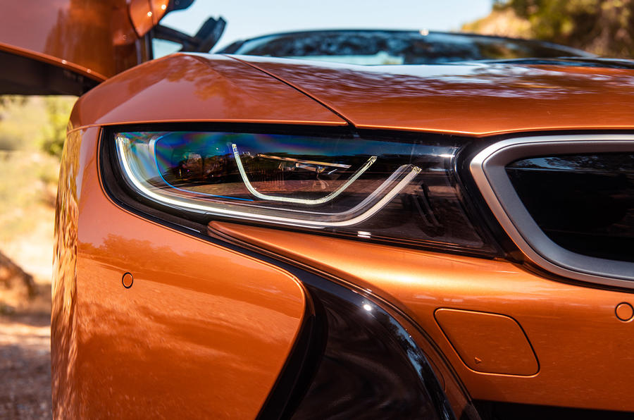 BMW i8 Roadster 2018 UK first drive review - headlights