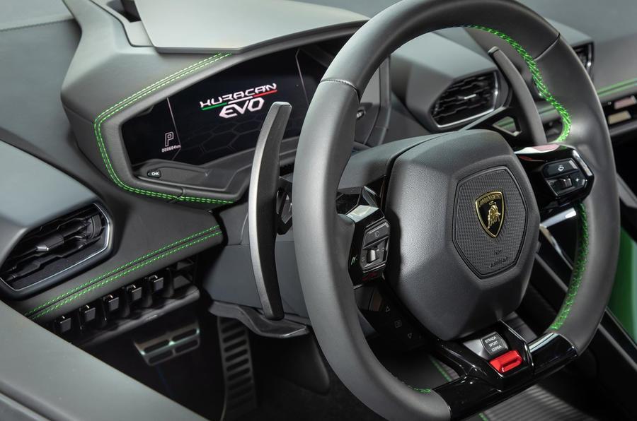 Lamborghini Huracan EVO RWD 2020 UK first drive review - steering wheel