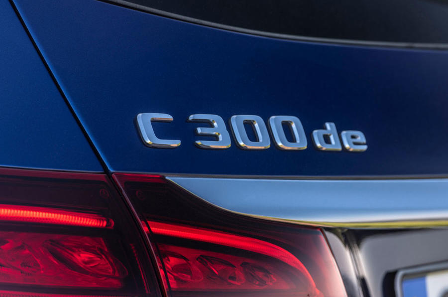 Mercedes-Benz C-Class C 300de estate 2018 first drive review - boot badge