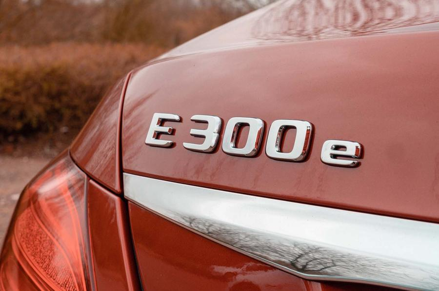 Mercedes-Benz E300e 2019 UK first drive review - rear badge