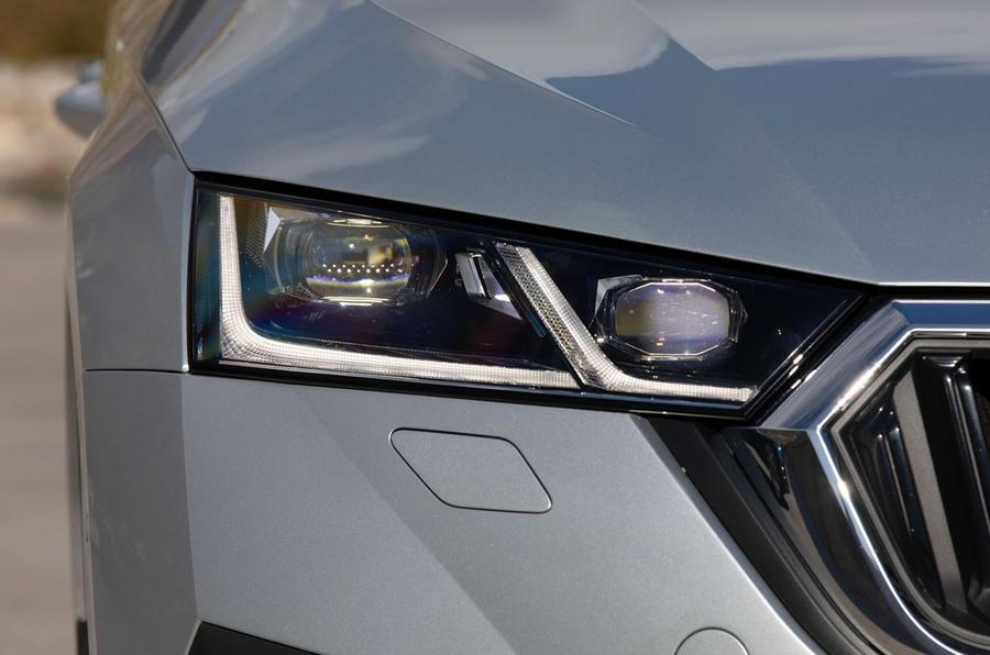 Skoda Octavia estate 2020 UK first drive review - headlights