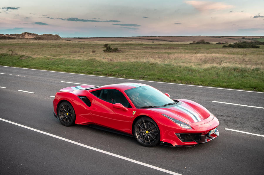 Ferrari 488 Pista at sunset - side