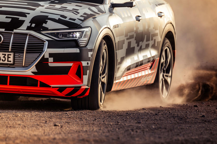 Audi e-Tron 2019 prototype first drive review - wheels dust