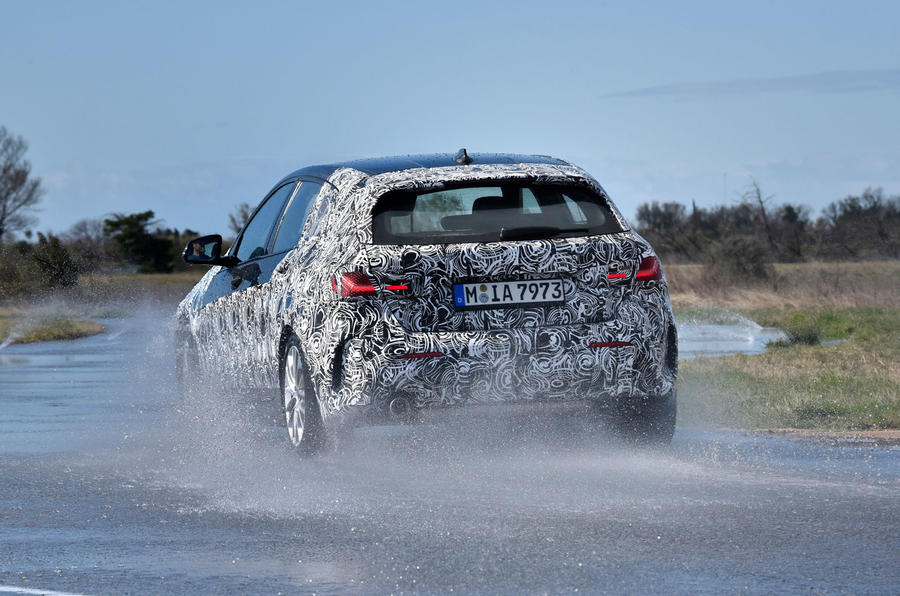 BMW 1 Series 2019 prototype drive - wet driving rear
