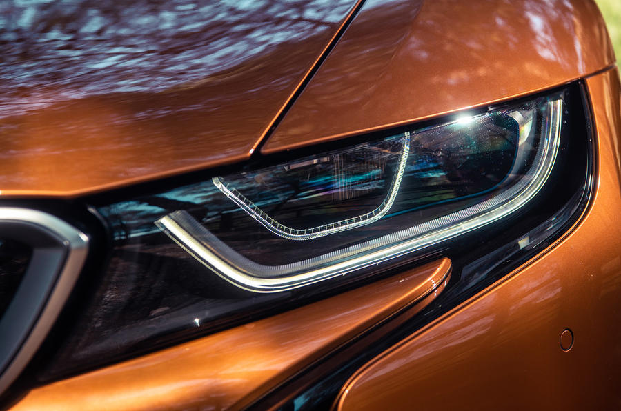 BMW i8 Roadster 2018 UK first drive review - headlight detail
