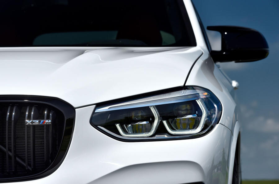 BMW X3 M Competition 2019 first drive review - headlights