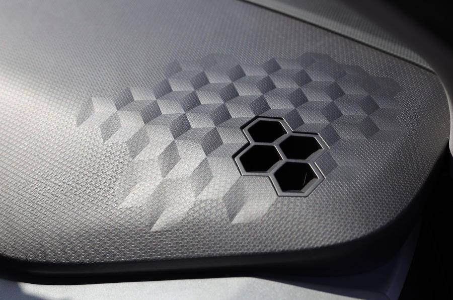 Geely Geometry A 2019 prototype drive - speaker grilles