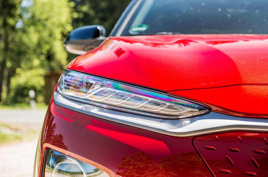 Hyundai Kona EV prototype drive 2018 headlights