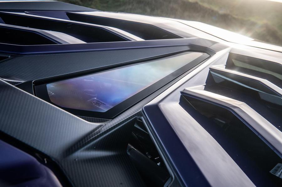 Lamborghini Aventador SVJ 2018 UK first drive review - engine cover