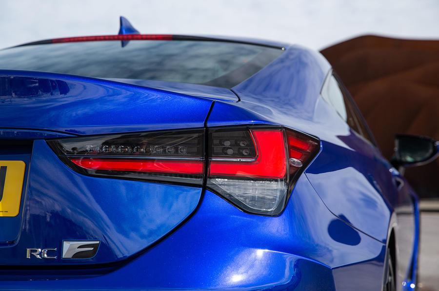 Lexus RC F with track pack 2019 first drive review - rear lights