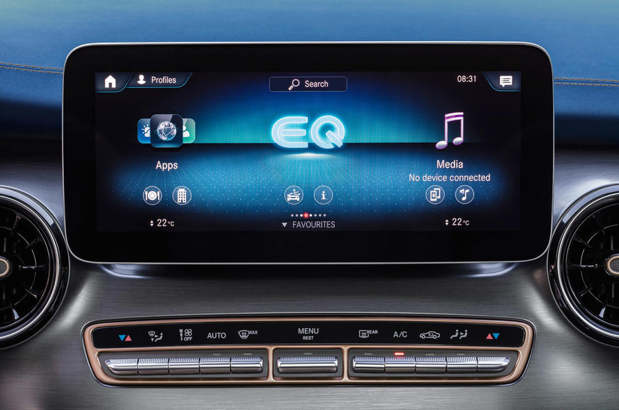 5 Mercedes Benz EQV 2021 LHD : premier essai, infotainment.