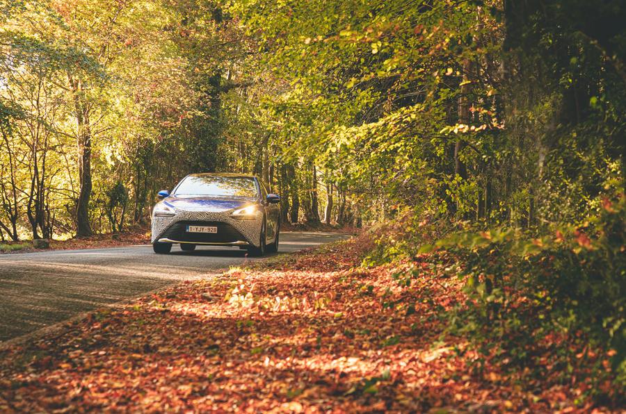 Toyota Mirai 2021 prototype drive - on the road front