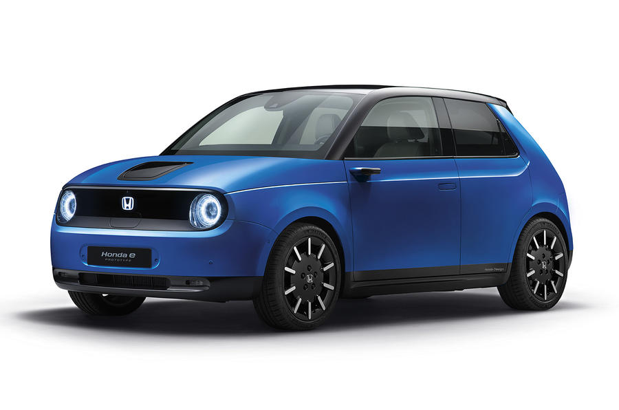 Honda E in blue