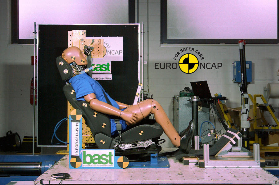 Ford Focus mannequin Euro NCAP crash test - side