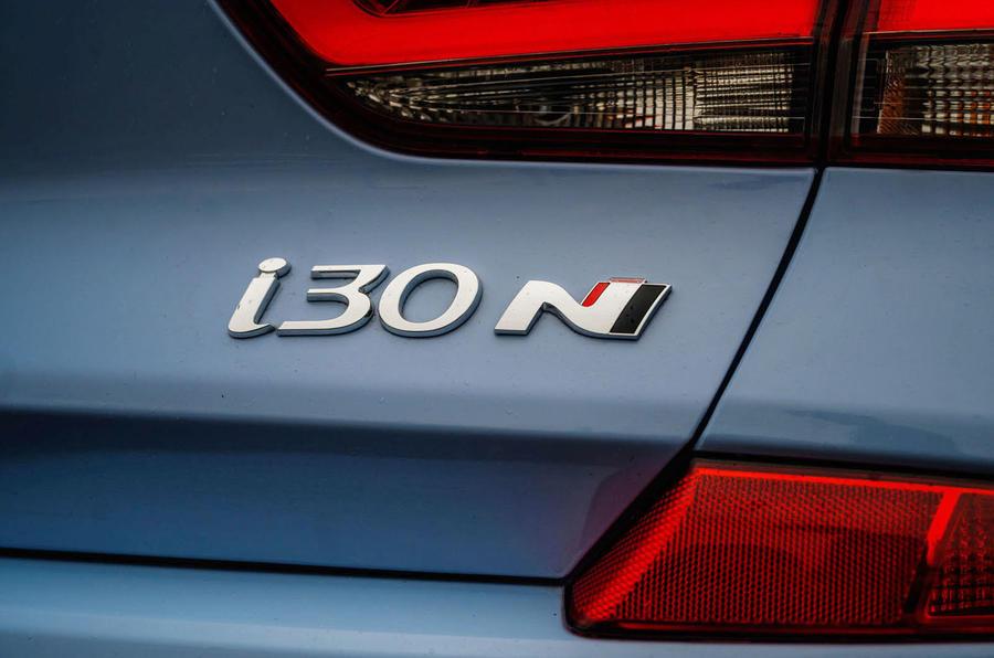 Hyundai i30 N 2020 UK first drive review - rear badge