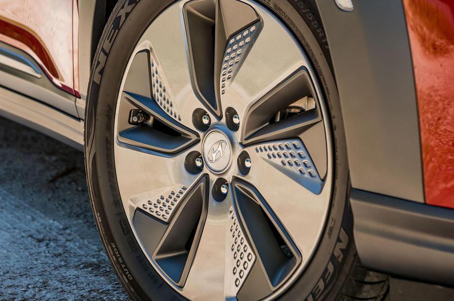 Hyundai Kona EV prototype drive 2018 alloy wheels