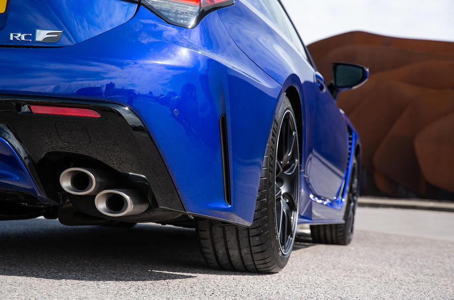 Lexus RC F with track pack 2019 first drive review - exhausts