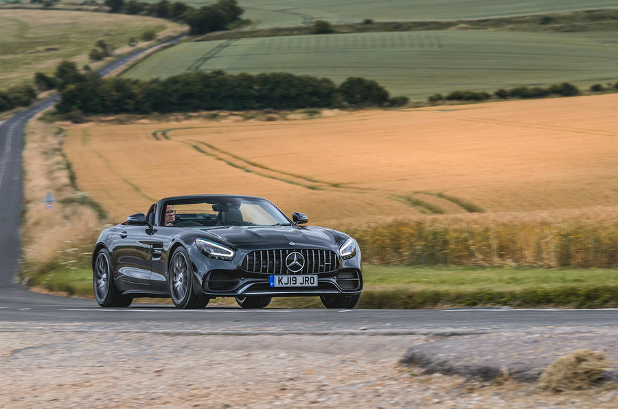 Mercedes-AMG GT Roadster 2019 UK first drive review - cornering front