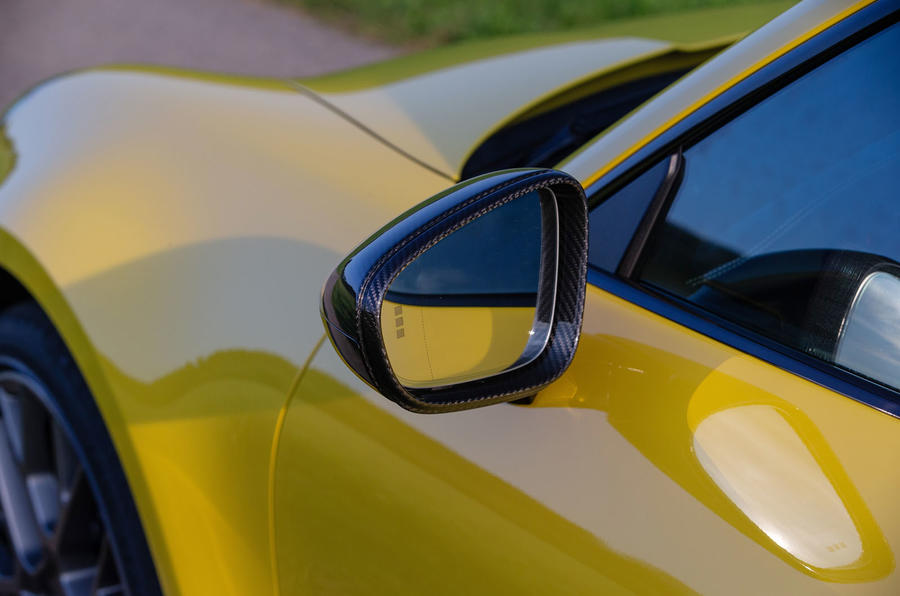 Porsche 911 Carrera 2019 first drive review - wing mirror rear