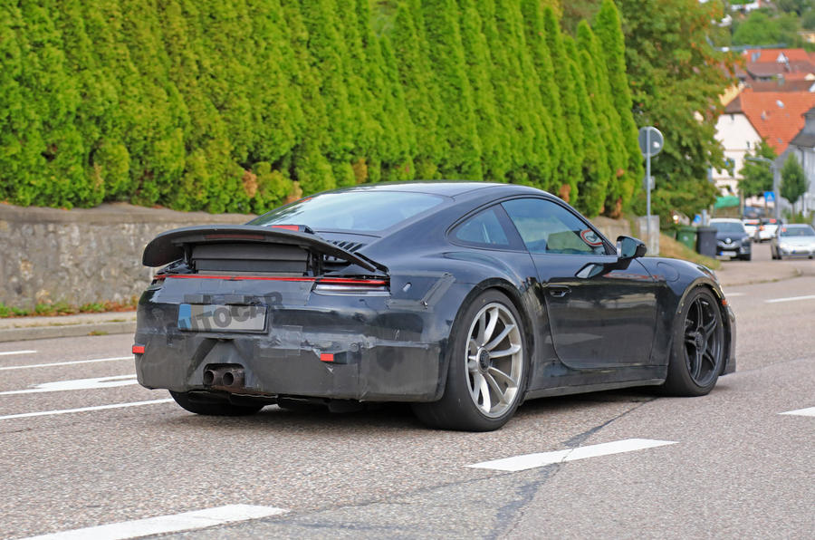 2020 Porsche 911 GT3 spotted testing rear right