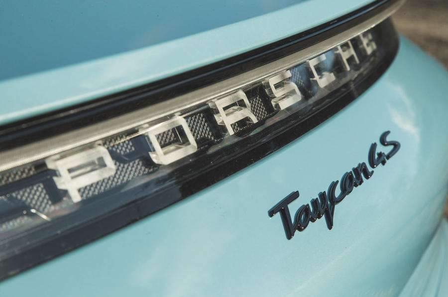 Porsche Taycan 4S 2020 UK first drive review - rear badge