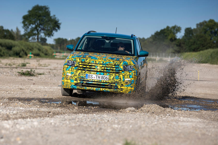 Volkswagen T-Cross prototype 2019 first drive review wading front