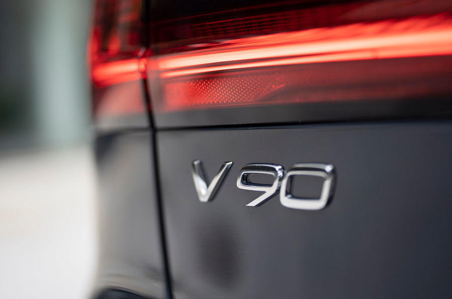 Volvo V90 Recharge T6 2020 UK first drive review - rear badge